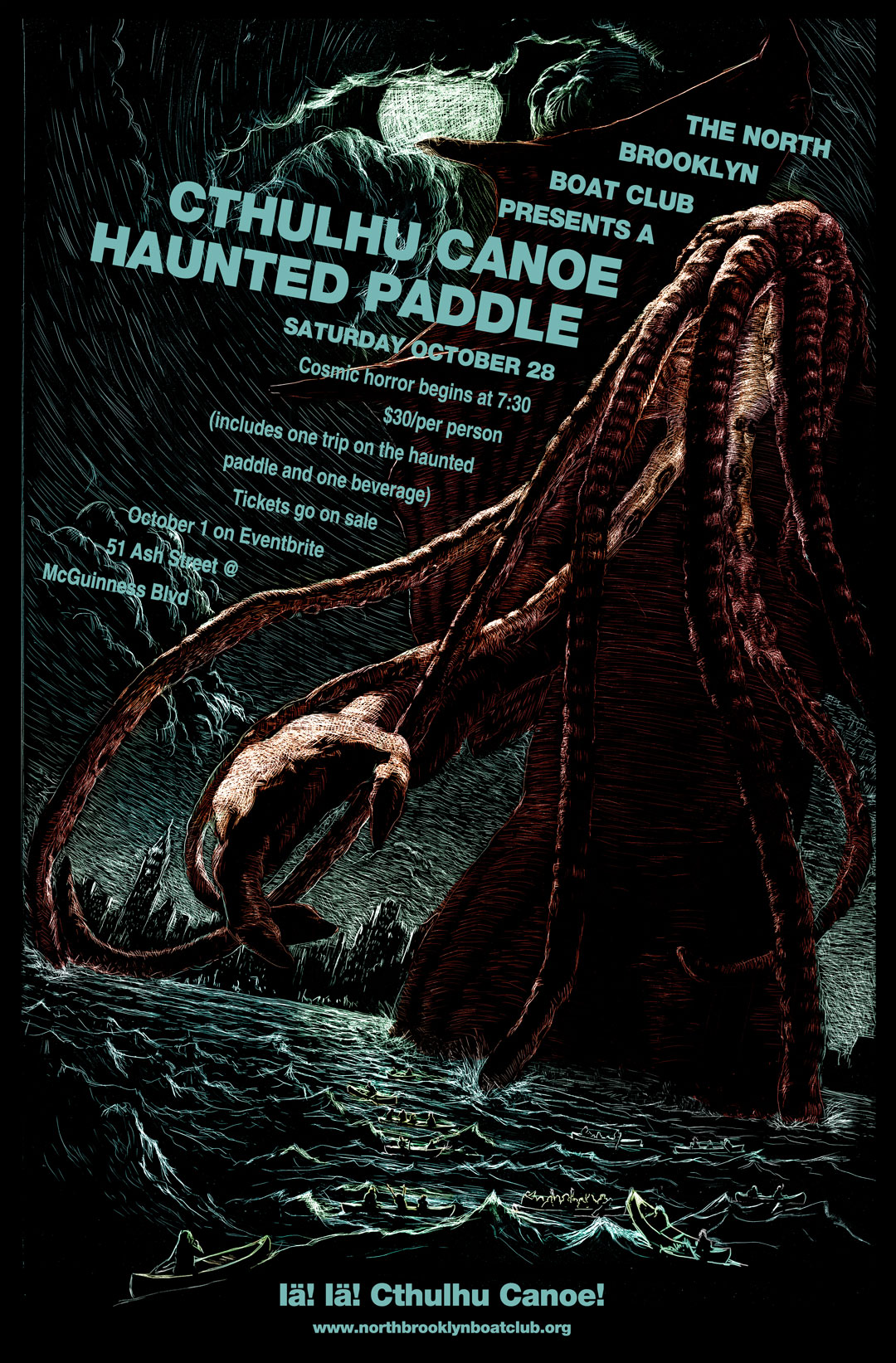 North Brooklyn Boat Club Haunted Paddle 2017: Cthulhu Canoe! October 28, 2017, $30, 7:00-11:00 PM, 51 Ash St., Brooklyn, NY