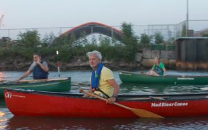 Klaus leading a canoe trip on Newtown Creek
