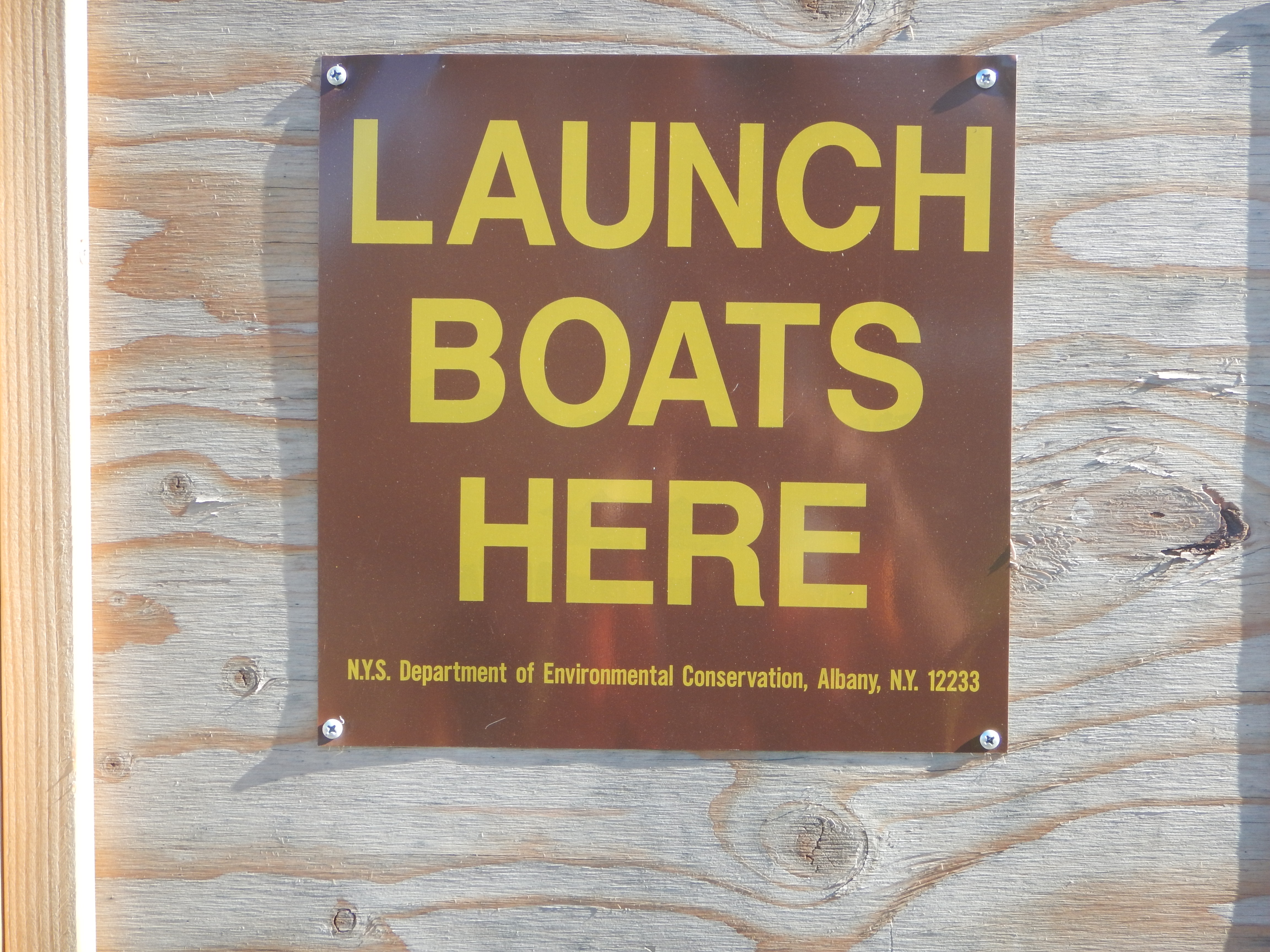 An encouraging sign at Old Place Creek launch, Staten Island, 10/31/2016