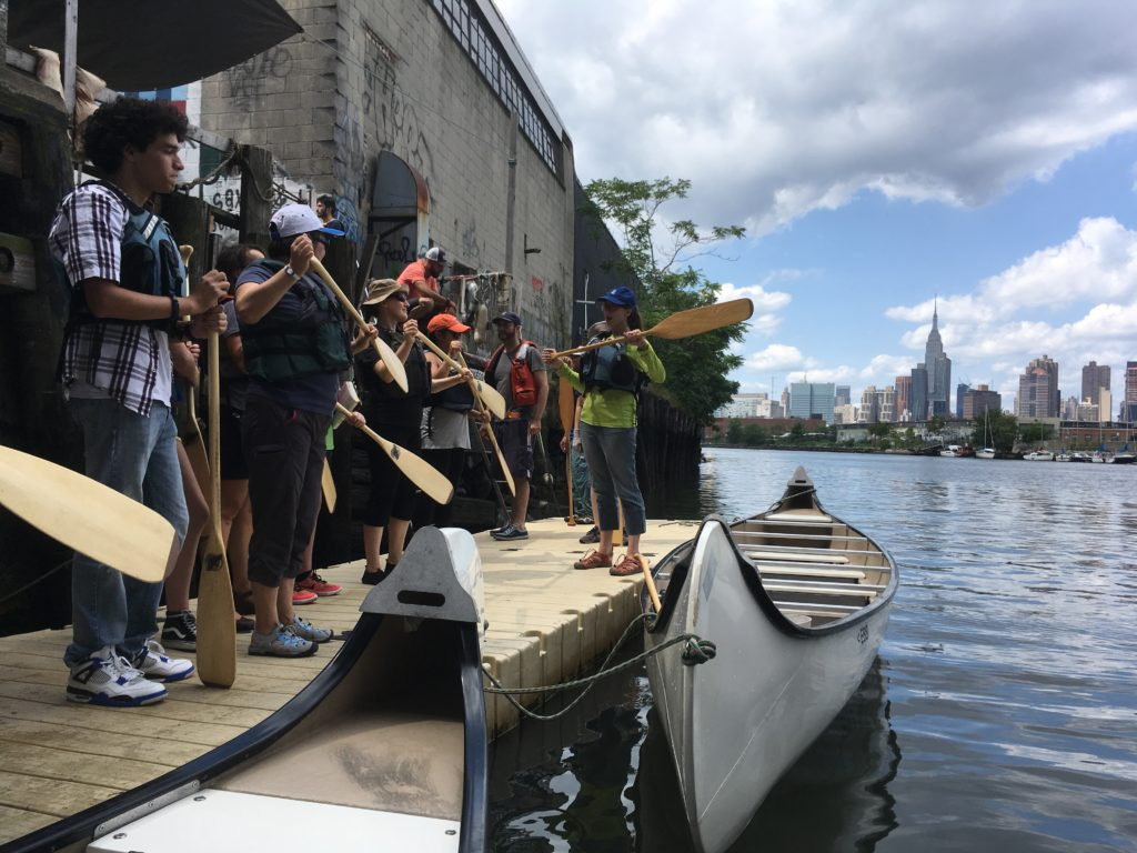 Paddle instruction on the NBBC dock. Public paddle, August 19, 2017