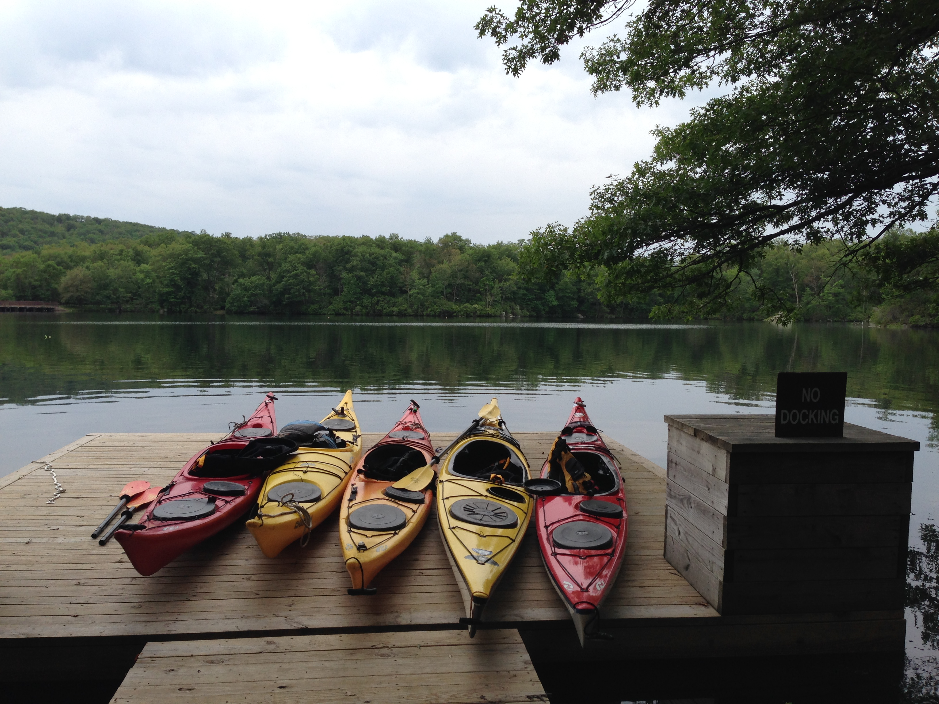 Kayaks on the dock at the Lake Sebago cabin