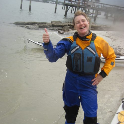Monica after receiving trip leader certification, Tybee Island, Georgia, 2012
