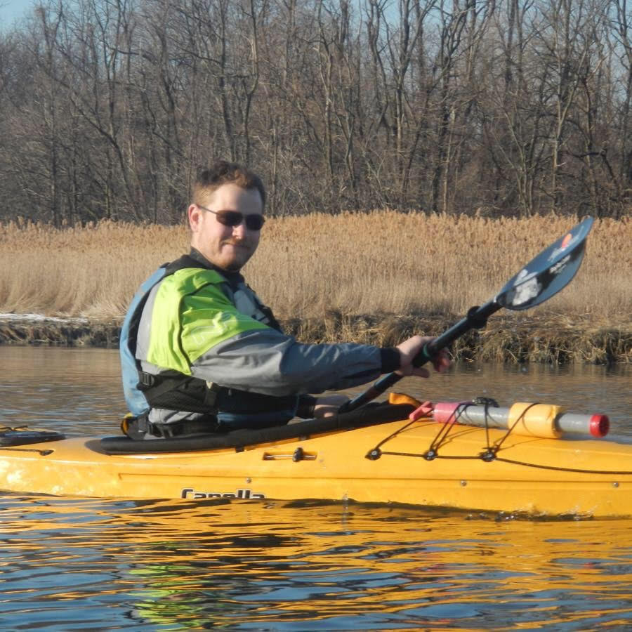 Vincent B. in his kayak